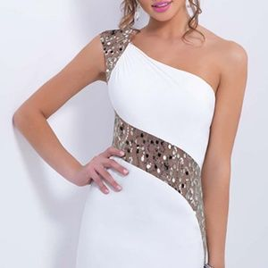Sexy White Cocktail Dress - Sparkling Gold Sequin